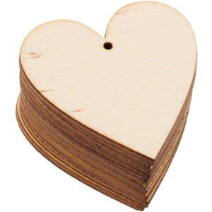 10 pieces wooden heart 5 x 5 cm wooden hanging...