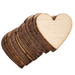 10 pieces wooden heart 1 x 1 cm wooden embellishments