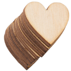 10 pieces wooden heart 2 x 2 cm wooden embellishments