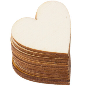 10 pieces wooden heart 3 x 3 cm wooden embellishments