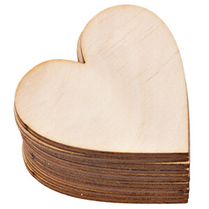 10 pieces wooden heart 5 x 5 cm wooden embellishments