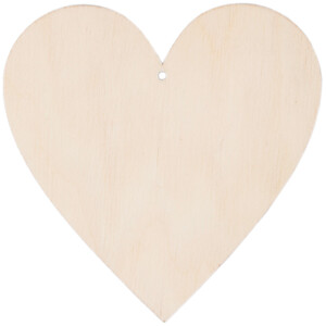 Large wooden heart 10 x 10 cm thread hole wood heart