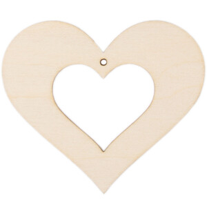 Hollow heart wooden heart 5 x 6 cm hanging