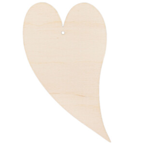 Curved heart 3 mm thick wood heart 10 x 5,5 cm hanging