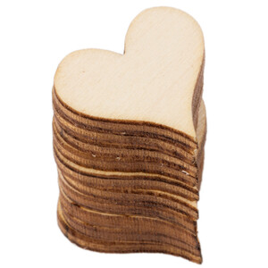 10 pieces wooden cross-section heart 2 x 2 cm wooden...