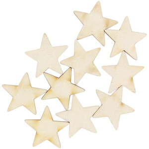 10 piece of wooden stars 2 x 2 cm wooden embellishments