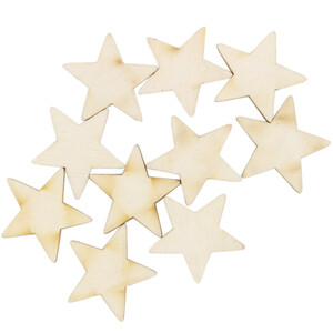 10 piece of wooden stars 3 x 3 cm wooden embellishments