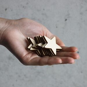 10 piece of wooden stars 4 x 4 cm wooden embellishments