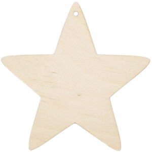 Wooden star 10 x 10 cm Christmas star threading hole