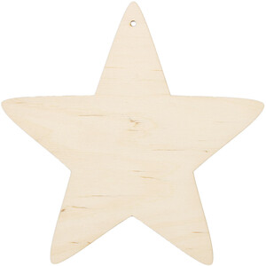 Wooden star 20 x 20 cm Christmas star threading hole