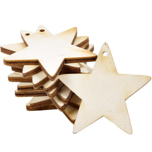 Holz Sterne 3er Set Weiß Holzdeko Weihnachtsdeko Tischdeko Weihnachten Echtholz