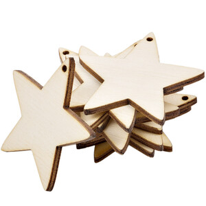 10 piece of wooden stars 5 x 5 cm wooden embellishments...