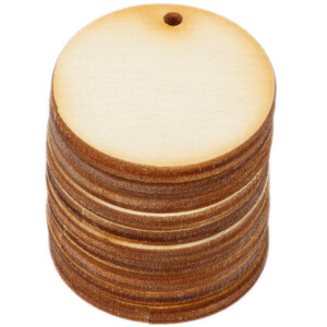 10 pieces of wooden circles Ø 3 cm with threading hole...