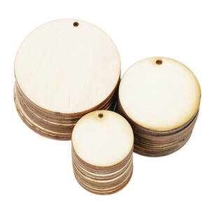 10 pieces of wooden circles Ø 4 cm with threading hole...