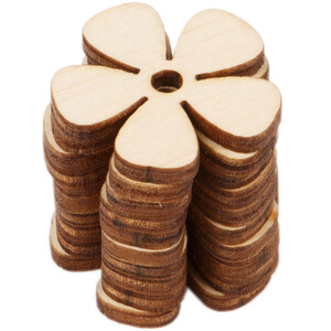 10 pieces wood flower 3 x 3 cm cloverleaf wooden daisy