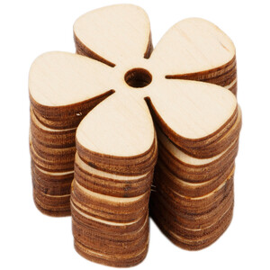 10 pieces wood flower 4 x 4 cm cloverleaf wood daisy