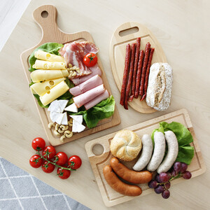 Set of 3 cutting boards with handle wooden boards set of...
