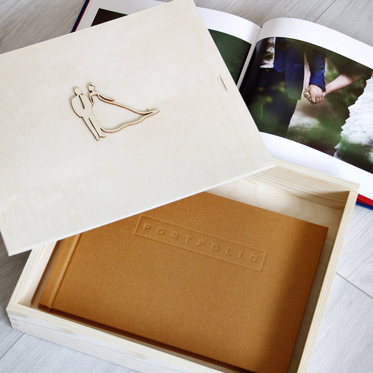 große Kiste Bilderbox 28 x 33 cm Holzkiste Schiebe Deckel