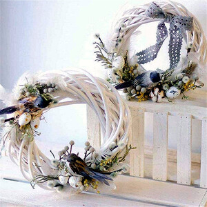 Wreath of willow white wreath 20 x 5 cm home décor wicker