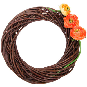 Broad wreath of willow wreath home décor 25cm brown door...
