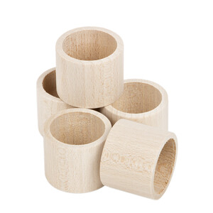 5 pieces of rings straight shape wooden napkin rings...