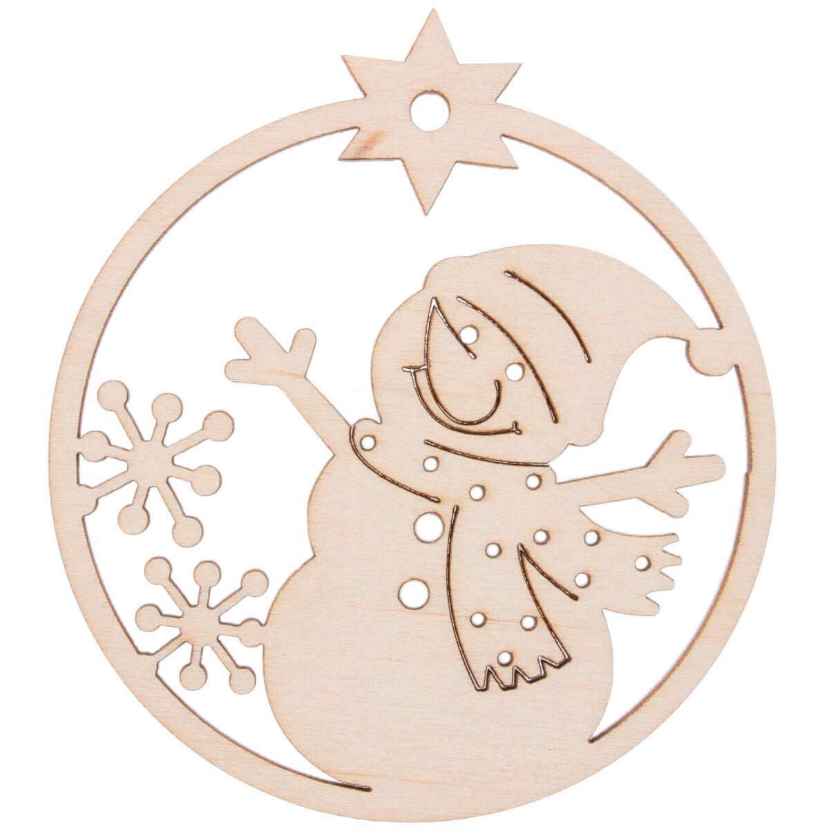 gravierter Schneemann aus Holz zum selbst gestalten, 1,40