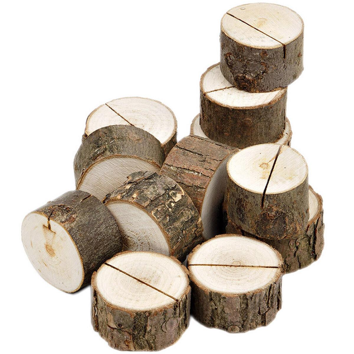 10 Stück Holzscheiben Ø 3 bis 4 cm Kartenhalter 2 cm Star