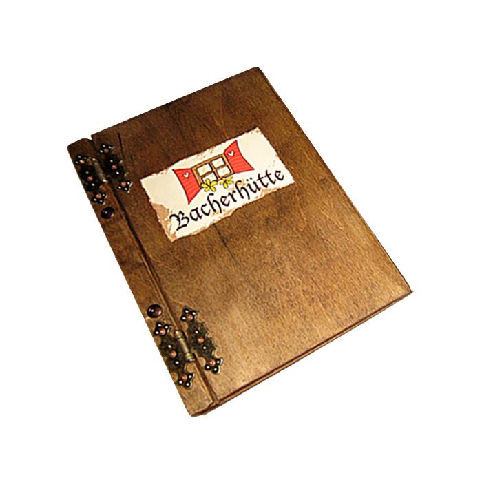 Holzkarte mit Firmenmotiv