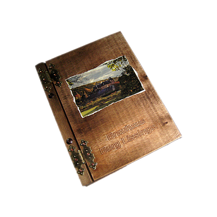 Restaurantkarte Holz mit Bild